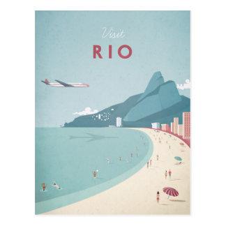 Affiche vintage de voyage de Rio - carte postale