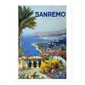 """Affiche vintage de voyage de """"Sanremo"""" Cartes Postales"""