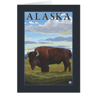 Affiche vintage de voyage de scène de bison carte de vœux