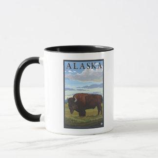 Affiche vintage de voyage de scène de bison tasse