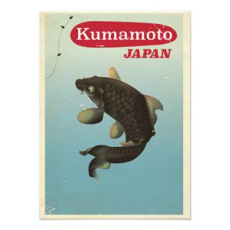 Affiche vintage de voyage de style de Kumamoto Impression Photo