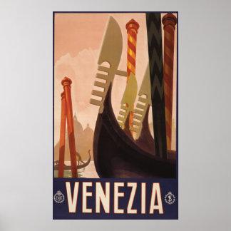 Affiche vintage de voyage de Venezia (Venise)