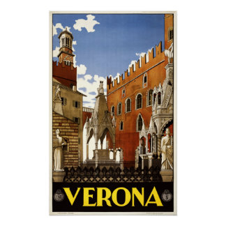 Affiche vintage de voyage de Vérone Italie