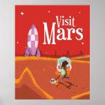 Affiche vintage de voyage de voyage de Mars