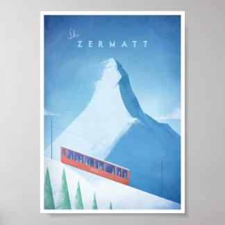 Affiche vintage de voyage de Zermatt de ski Poster
