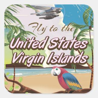 Affiche vintage de voyage des Îles Vierges Sticker Carré