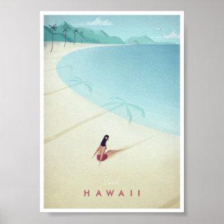 Affiche vintage de voyage d'Hawaï Poster