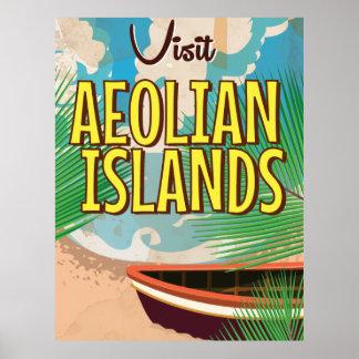 Affiche vintage de voyage d'îles éoliennes