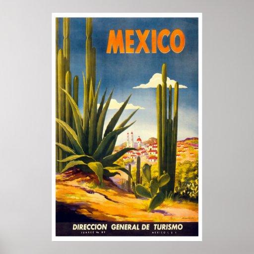 """Affiche vintage de voyage du """"Mexique"""""""