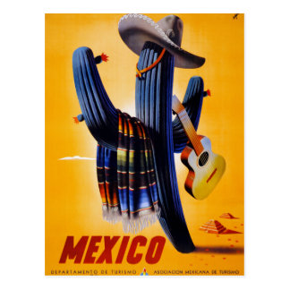 Affiche vintage de voyage du Mexique reconstituée Carte Postale