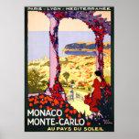 Affiche vintage de voyage du Monaco Monte Carlo Fr