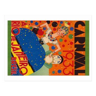 Affiche vintage de voyage du monde du carnaval carte postale
