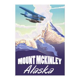 Affiche vintage de voyage du mont McKinley Toile Tendue Sur Châssis