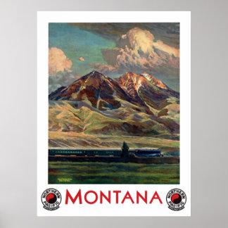 Affiche vintage de voyage du Montana Poster