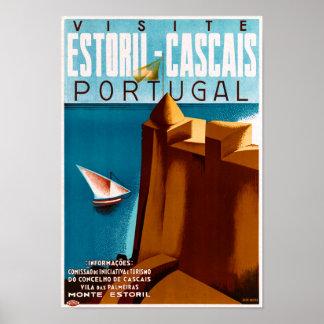 Affiche vintage de voyage du Portugal Estoril Poster