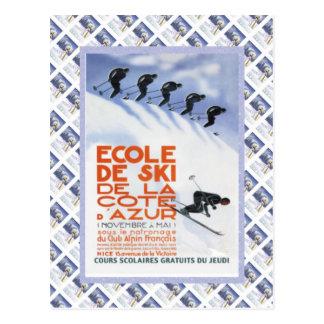 Affiche vintage de voyage, Ecole de Ski Cartes Postales