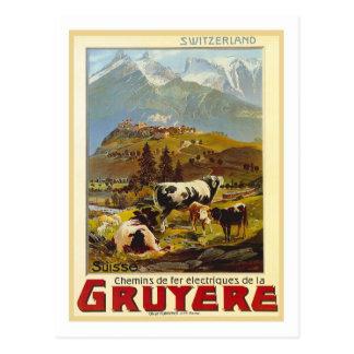 Affiche vintage de voyage, gruyère carte postale