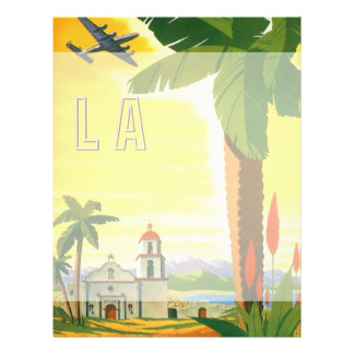 Affiche vintage de voyage, Los Angeles, la Tract Customisé