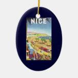 Affiche vintage de voyage, Nice, France la Côte Ornement Ovale En Céramique