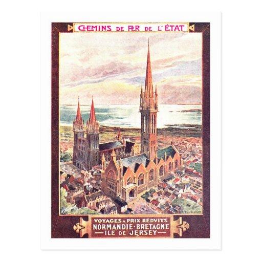 Affiche vintage de voyage, Normandie Cartes Postales