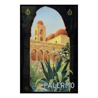 Affiche vintage de voyage Palerme Sicile Italie