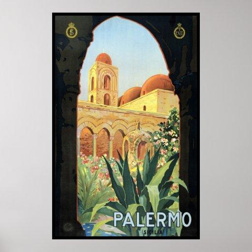 Affiche vintage de voyage, Palerme, Sicile, Italie
