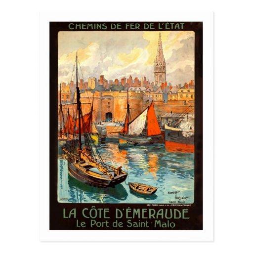 Affiche vintage de voyage, saint Malo Carte Postale