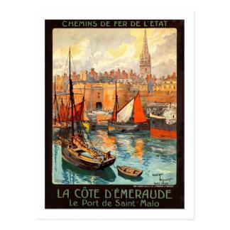 Affiche vintage de voyage, saint Malo Cartes Postales