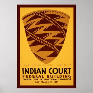 Affiche vintage de WPA de bâtiment fédéral indien Poster