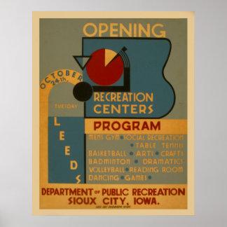 Affiche vintage de WPA de centres de récréation Posters