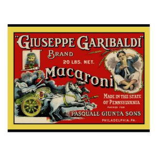 Affiche vintage d'étiquette de macaronis d'art cartes postales