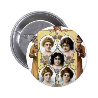 Affiche vintage drôle de femmes d'hommes badges avec agrafe