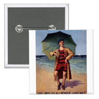 affiche vintage drôle de parapluie de maillot de b badge carré 5 cm
