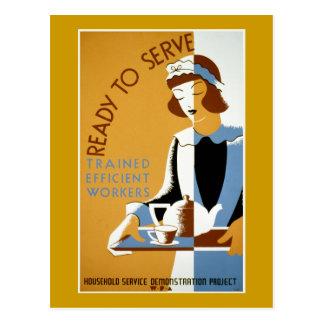 Affiche vintage prête à servir de WPA Carte Postale