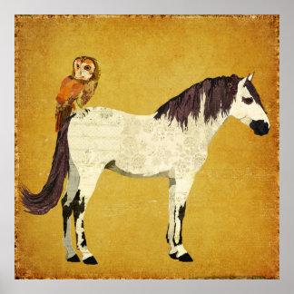 Affiche violette de cheval et de hibou