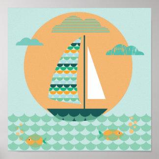 Affiche, voilier, chambres d'enfants, image, posters