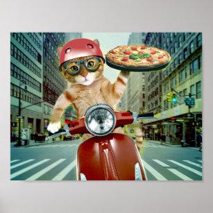 Affiches chat de pizza - chat - la livraison de pizza