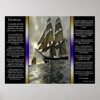 Affiches de bateau à voile d'océan de desiderata