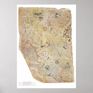 Affiches de carte du monde de Piri Reis