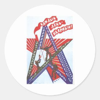 Affiches de propagande d'Union Soviétique de Autocollants Ronds