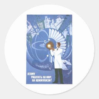 Affiches de propagande d'Union Soviétique de Sticker Rond