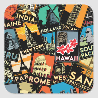 Affiches la rétro Europe vintage Asie Etats-Unis Sticker Carré