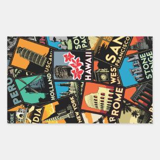 Affiches la rétro Europe vintage Asie Etats-Unis Sticker Rectangulaire