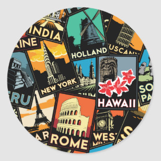 Affiches la rétro Europe vintage Asie Etats-Unis Sticker Rond