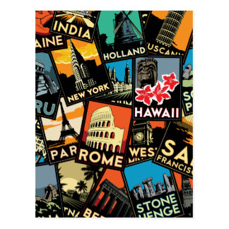 Affiches la rétro Europe vintage Asie Etats-Unis Carte Postale