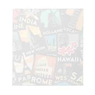 Affiches la rétro Europe vintage Asie Etats-Unis d Bloc-notes