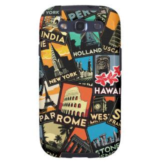 Affiches la rétro Europe vintage Asie Etats-Unis d Étui Samsung Galaxy S3