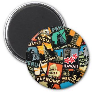Affiches la rétro Europe vintage Asie Etats-Unis d Magnet Rond 8 Cm