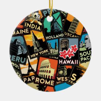 Affiches la rétro Europe vintage Asie Etats-Unis d Ornements De Noël