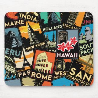 Affiches la rétro Europe vintage Asie Etats-Unis d Tapis De Souris